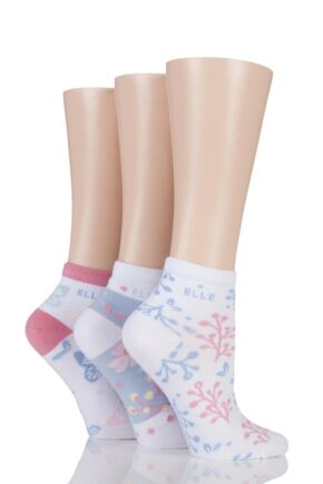 Ladies 3 Pair Elle Patterned and Striped Cotton Anklets Free Spirit / White 4-8