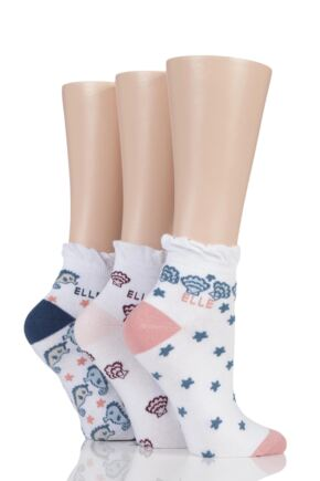 Ladies 3 Pair Elle Patterned and Striped Cotton Anklets