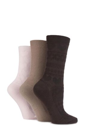 Ladies 3 Pair Elle Fair Isle, Hearts and Ribbed Textured Socks