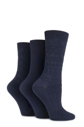 Ladies 3 Pair Elle Fair Isle, Hearts and Ribbed Textured Socks