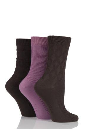 Ladies 3 Pair Elle Vintage Fair Isle and Ribbed Socks