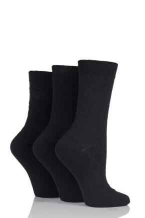 Ladies 3 Pair Elle Vintage Fair Isle and Ribbed Socks Black 4-8 Ladies