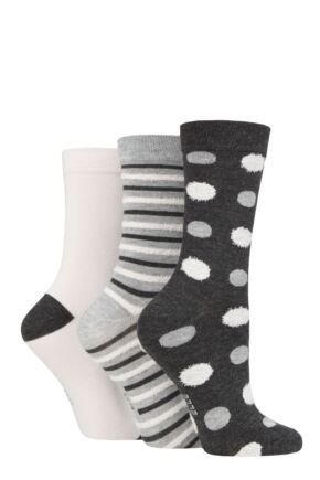 Ladies 3 Pair Elle Spotty and Stripe Feather Bamboo Socks
