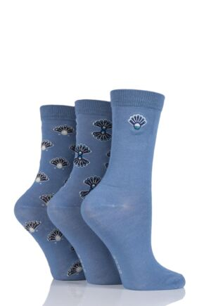 Ladies 3 Pair Elle Art Deco Bamboo Socks