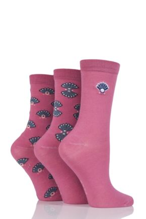 Ladies 3 Pair Elle Art Deco Bamboo Socks Rosewood 4-8