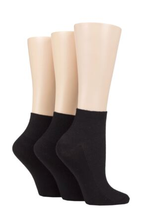 Ladies 3 Pair Elle Ribbed Bamboo Ankle Socks