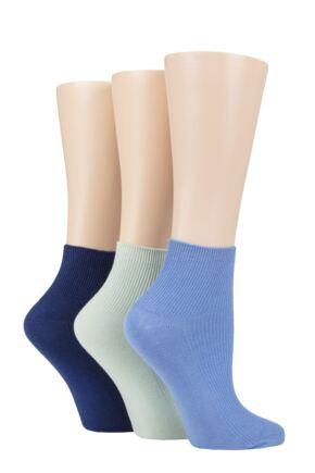 Ladies 3 Pair Elle Ribbed Bamboo Ankle Socks Gingham Blue 4-8 Ladies