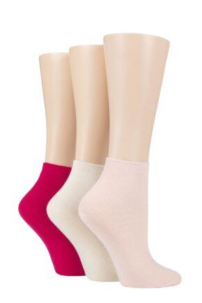 Ladies 3 Pair Elle Ribbed Bamboo Ankle Socks Strawberry Sorbet 4-8 Ladies
