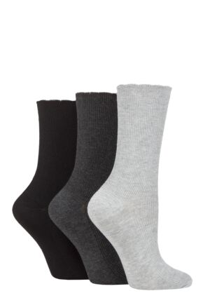 Ladies 3 Pair Elle Ribbed Bamboo Socks with Scallop Top Black / Charc / Silver Grey 4-8 Ladies