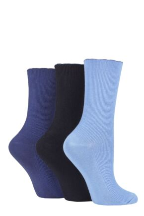 Ladies 3 Pair Elle Ribbed Bamboo Socks with Scallop Top