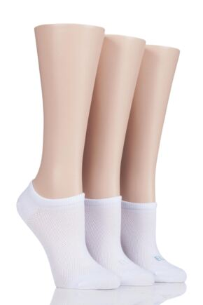 Ladies 3 Pair Elle Sport Mesh Bamboo No Show Socks White 4-8