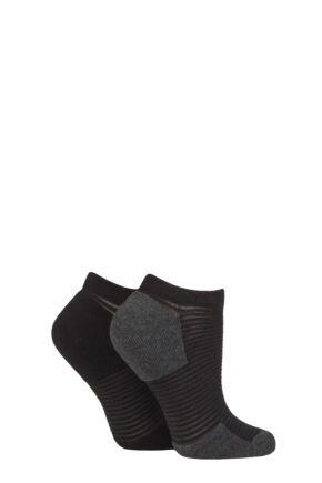 Ladies 2 Pair Elle Bamboo Cushioned Heel & Toe No Show Sports Socks
