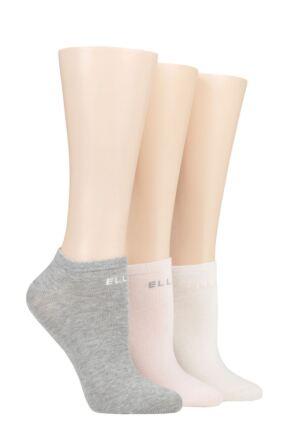Ladies 3 Pair Elle Plain, Stripe and Patterned Cotton No-Show Socks Sweet Bonbon Plain 4-8 Ladies