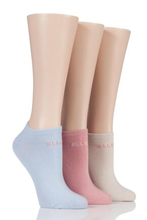 Ladies 3 Pair Elle Plain Cotton No-Show Trainer Socks