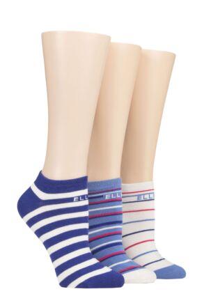 Ladies 3 Pair Elle Plain, Stripe and Patterned Cotton No-Show Socks Blueberry Cream Stripe 4-8 Ladies