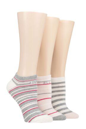 Ladies 3 Pair Elle Plain, Stripe and Patterned Cotton No-Show Socks