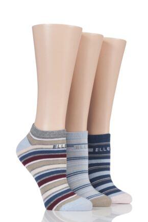 Ladies 3 Pair Elle Bright Striped Cotton Trainer Socks