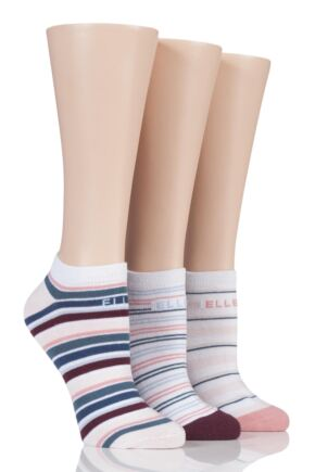 Ladies 3 Pair Elle Bright Striped Cotton Trainer Socks