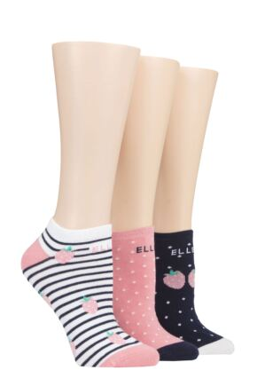 Ladies 3 Pair Elle Plain, Stripe and Patterned Cotton No-Show Socks Wild Strawberry 4-8 Ladies