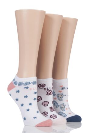 Ladies 3 Pair Elle Patterned Cotton No Show Socks
