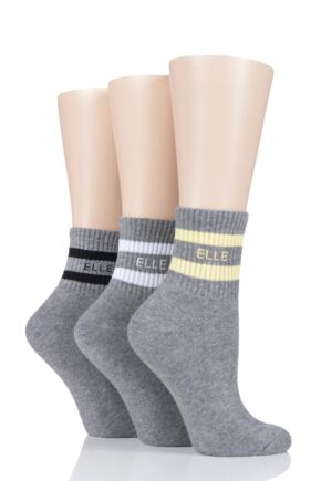 Ladies 3 Pair Elle Half Cushion Sports Anklet Socks Grey 4-8 Ladies