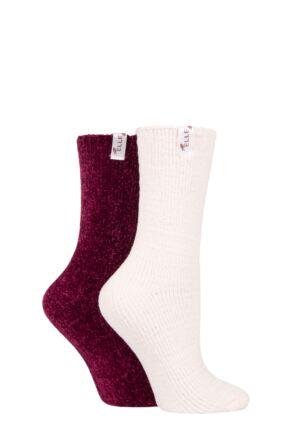Ladies 2 Pair Elle Chenille Boot Socks Mauvewood 4-8 Ladies