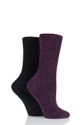 Ladies 2 Pair Elle Chenille Boot Socks