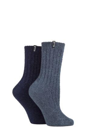 Ladies 2 Pair Elle Boucle Boot Socks