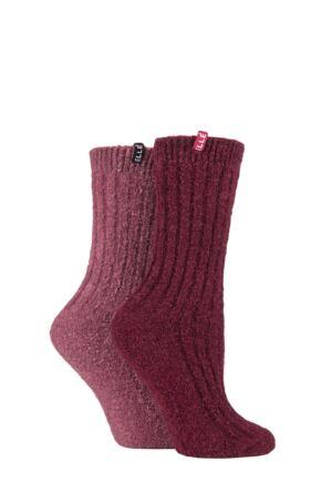 Ladies 2 Pair Elle Boucle Boot Socks Mauvewood 4-8 Ladies