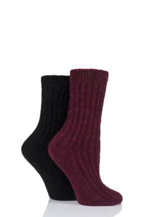 Ladies 2 Pair Elle Bouclé Boot Socks