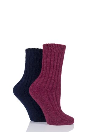 Ladies 2 Pair Elle Bouclé Boot Socks