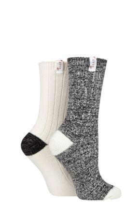 Ladies 2 Pair Elle Velvet Soft and Sparkle Boot Socks