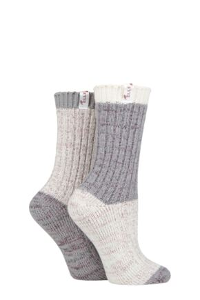 Ladies 2 Pair Elle Micropoly Chunky Boot Socks