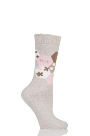 Ladies 1 Pair Elle Wool Patterned Winter Activity Boot Socks