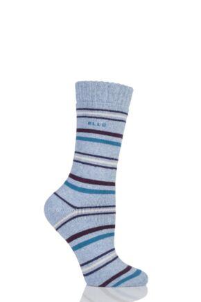 Ladies 1 Pair Elle Wool Blend Striped and Patterned Winter Boot Socks