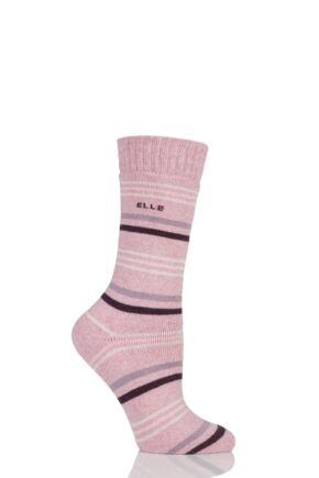 Ladies 1 Pair Elle Wool Blend Striped Winter Boot Socks Damson 4-8 Ladies
