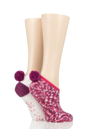 Ladies 2 Pair Elle Cosy Mary Jane Socks Winter Berry 4-8 Ladies