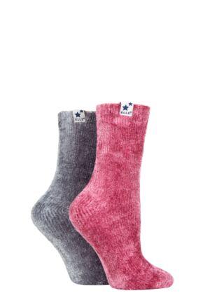 Ladies 2 Pair Elle Chenille Leisure Socks Griffin Grey 4-8 Ladies
