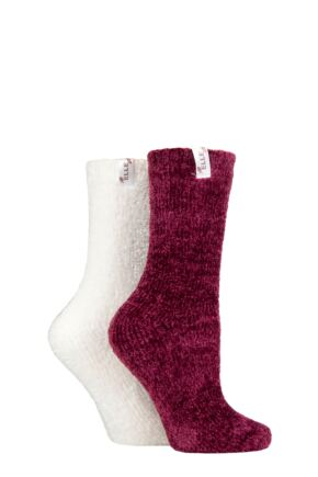 Ladies 2 Pair Elle Chenille Leisure Socks Raspberry Joy 4-8 Ladies