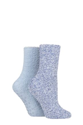 Ladies 2 Pair Elle Two Tone Cosy Bed and Home Socks