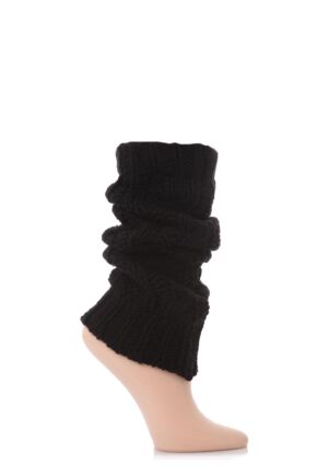 Ladies 1 Pair Elle Chunky Cable Knit Leg Warmers Black 2