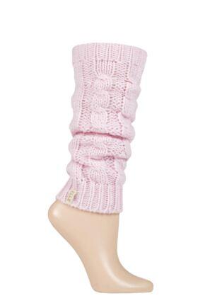 Ladies 1 Pair Elle Chunky Cable Knit Leg Warmers Opal Pink 4-8 Ladies
