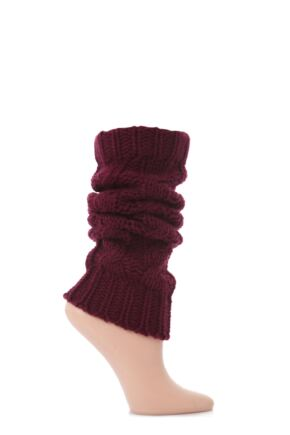 Ladies 1 Pair Elle Chunky Cable Knit Leg Warmers Mulled Wine