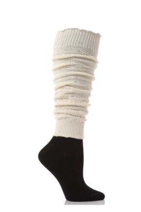 Ladies 1 Pair Elle Fine Cable Knit Leg Warmers Cream - Worth £5.99