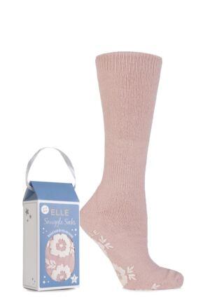 Ladies 1 Pair Elle Gift Boxed Cashmere-Like Slipper Socks Powder Pink 4-8