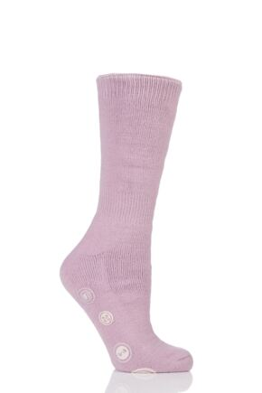 Ladies 1 Pair Elle Gift Boxed Cashmere-Like Slipper Socks Damson 4-8 Ladies