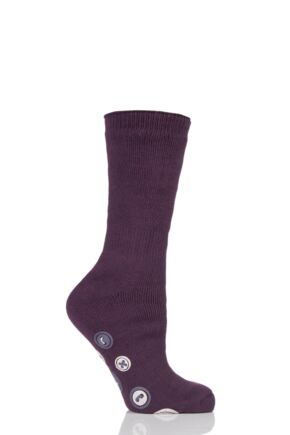 Ladies 1 Pair Elle Gift Boxed Cashmere-Like Slipper Socks Plum 4-8 Ladies