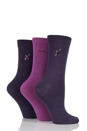 Ladies 3 Pair Elle Enchanting Bamboo Socks In Gift Box