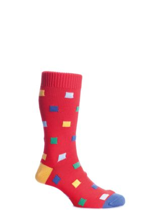 Mens 1 Pair Scott Nichol Bosworth Multi Square Cotton Socks With Contrast Heel and Toe 50% OFF Brigade L