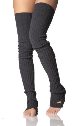 Ladies 1 Pair ToeSox Cable Knit Wool Open Foot Thigh High Socks